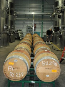 Barrels awaiting racking